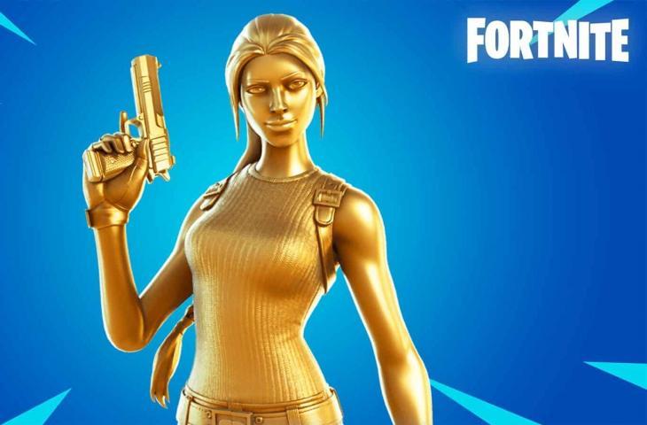 Skin Gold Lara Croft di Fortnite. (dexerto)