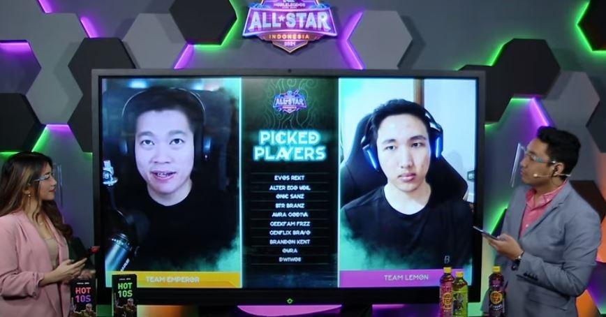 Momen Lemon dan Emperor saat memilih tim Mobile Legends All Star 2021. (YouTube/ Mobile Legends Bang Bang)