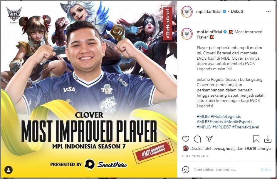 EVOS Clover sabet penghargaan Most Improved Player. (Instagram/ mpl.id.official)