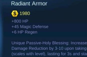 Radiant Armor. (Mobile Legends)
