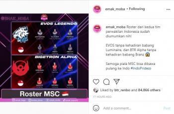 Roster EVOS Legends dan Bigetron Alpha untuk MSC 2021. (instagram/emak_moba)