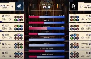 Game pertama EVOS vs Blacklist Filipina dimenangkan oleh Blacklist. (YouTube/ Mobile Legends)