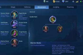 Item Warrior Boots. (Mobile Legends)