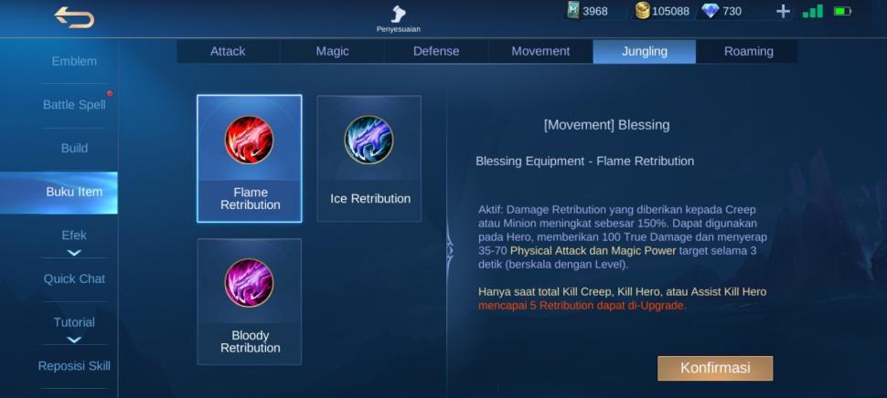 Item Jungler Flame Retribution. (Mobile Legends)