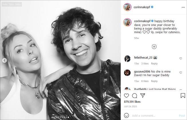 Corinna Kopf bareng YouTube David Dobrik. (Instagram/@corinnakopf)