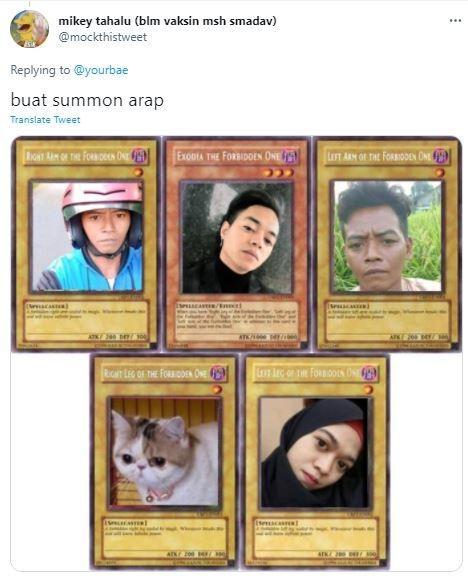 Netizen tuangkan meme pada kartu Yu-Gi-Oh. (Twitter/ mockthistweet)