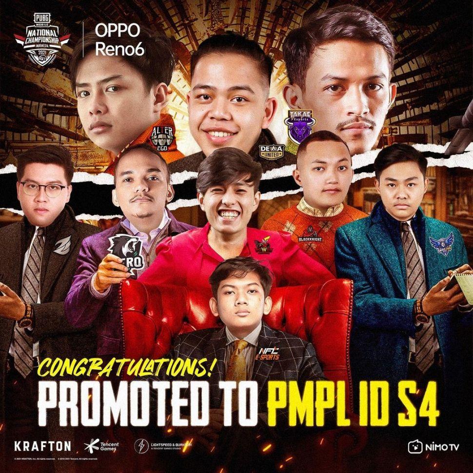 Sembilan tim berhasil lolos ke PMPL ID Season 4.(Instagram/ pubgmobile.esports.id)