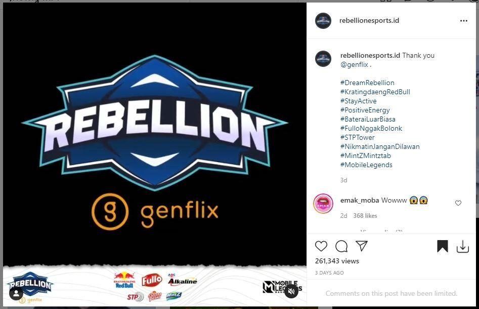 Logo Genflix Rebellion. (Instagram/ rebellionesports.id)